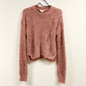 Candies Fuzzy Hi Low Soft Knit Sweater Pink